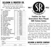 1953 Selchow & Righter games catalog leaflet (click to enlarge.)