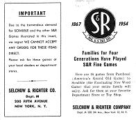 1954 Selchow & Righter games catalog leaflet (click to enlarge.)