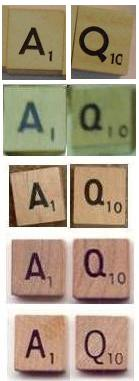 Five early Scrabble tile types.