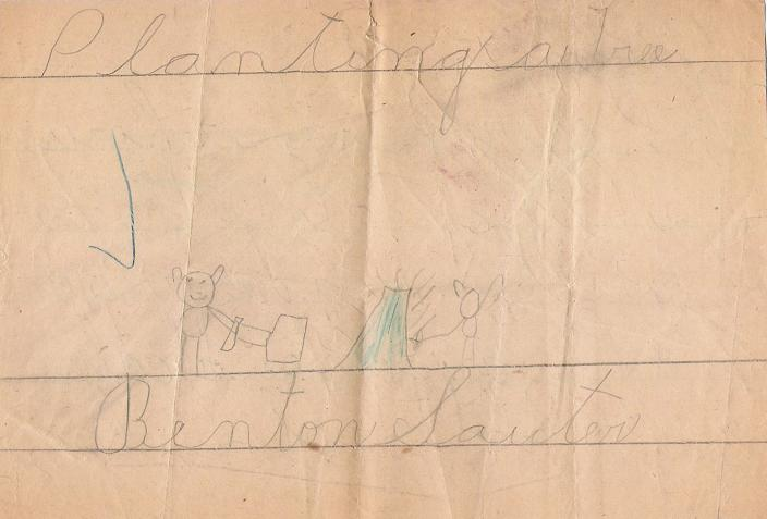 Planting a tree - 1st grade drawing, 1931.