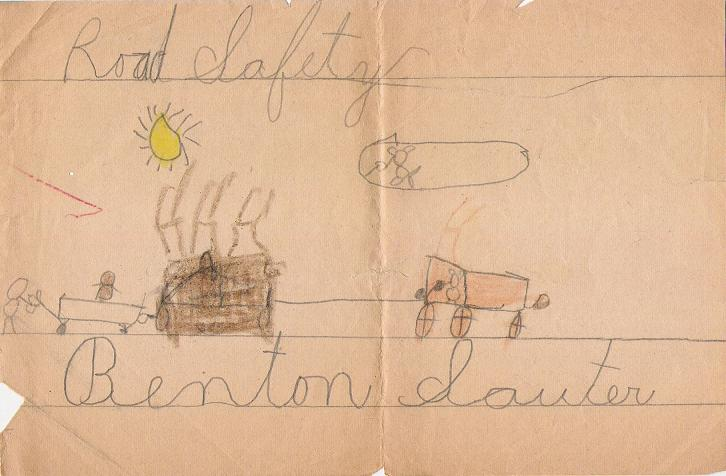 Road safety - 1st grade drawing, 1931.
