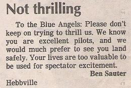 Letter to the editor: Blue Angels air shows.