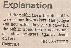 Letter to the editor: the drunk driver problem.