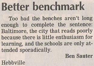 Letter to the editor: Baltimore reading.