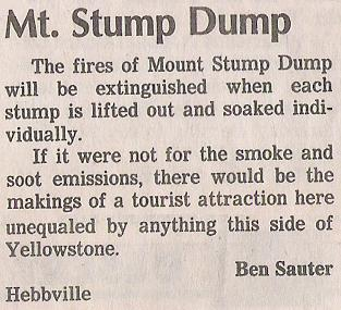 Letter to the editor: burning stump dump.