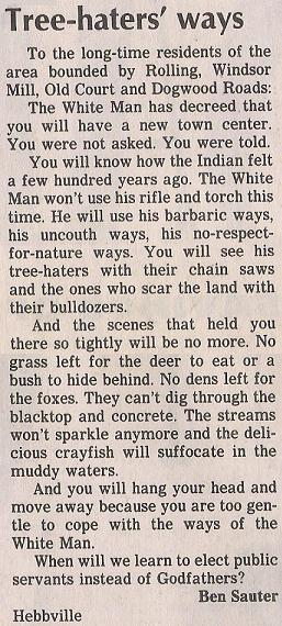 Letter to the editor: Tree-hater's ways.