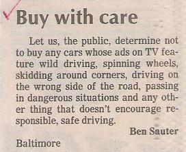 Letter to the editor: Stupid and irresponsible tv advertising.