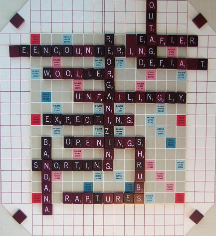 Sample Scrabble III game board.