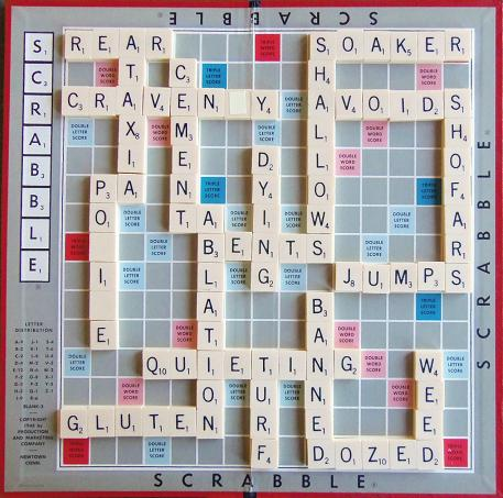 Sample Scrabble O game board.