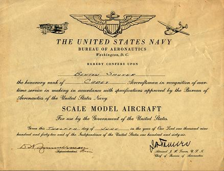 U.S. NAVY AERONAUTICS MODEL AIRCRAFT CERTIFICATE (CLICK TO ENLARGE.)